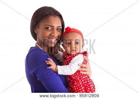 Young African American Mother Holding With Her Baby Girl Isolated On White Background