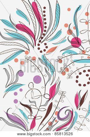 doodle floral vintage
