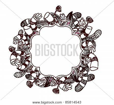 doodle floral label background