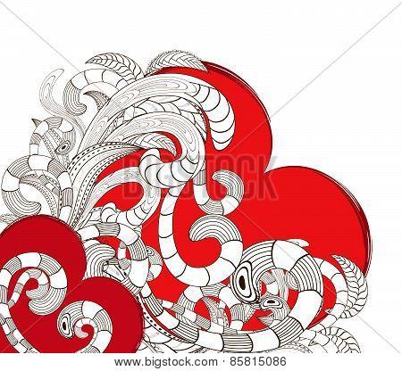 doodle line art heart design