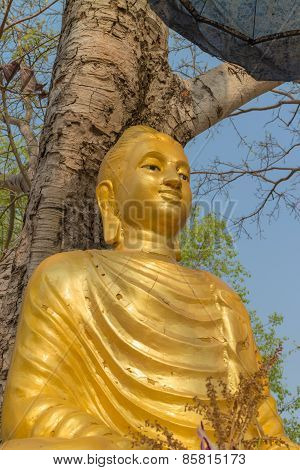 the ancient gold buddha statue