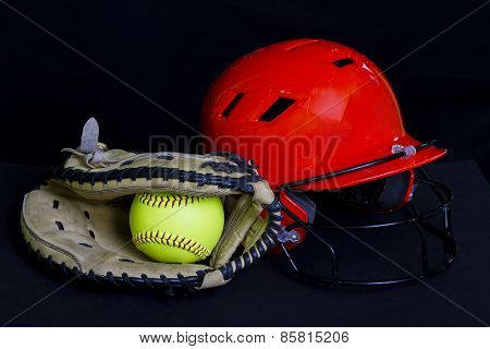 Fastpitch Softball With A Helmet & Ball