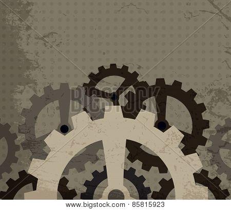 Grunge Cogwheel Background