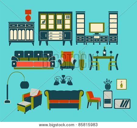 Retro Home Living Furniture Set - Illustration