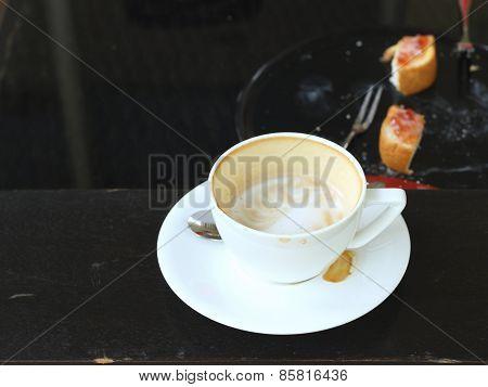 Hot Latte Coffee In Glass