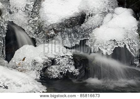 detail of a waterfall of Vosges mountains, France