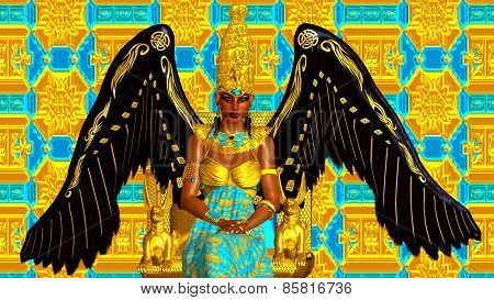 The Angel of Egypt. Wings of gold and black.