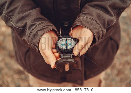 Hiker Woman With A Compass