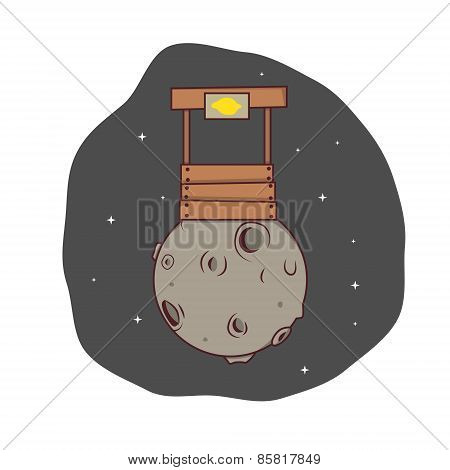 Isolated cartoon success lemonade stand business on the moon