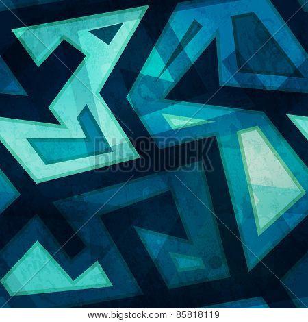 Marine Blue Geometric Seamless Pattern With Grunge