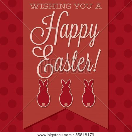Retro Style 'happy Easter' Card In Vector Format.