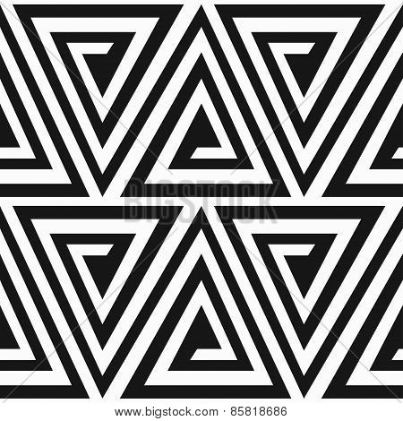 Monochrome Ancient Triangle Spiral Seamless Pattern