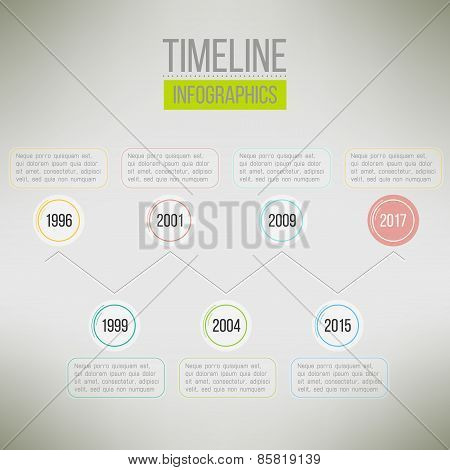 Timeline template infographic suitable for business presentations, reports, statistic layout. Vector