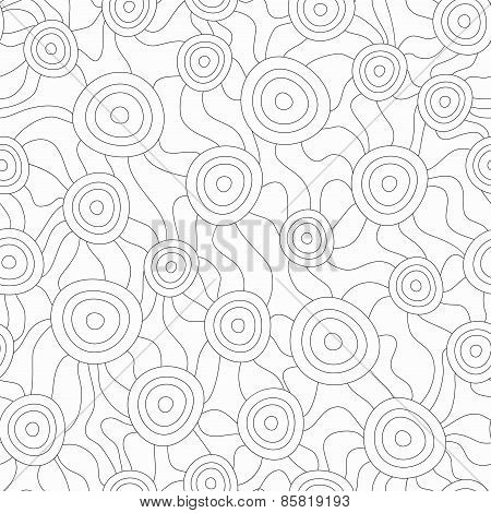 Monochrome Fungus Seamless Pattern