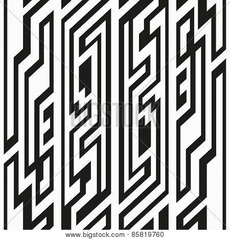 Monochrome Retro Geometric Seamless Pattern