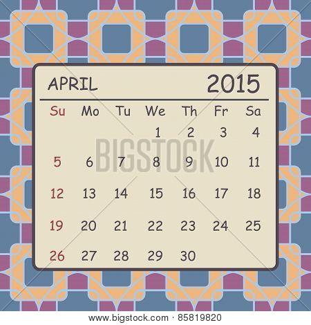 Calendar April 2015 Design. Mosaic Geometric Pattern Background