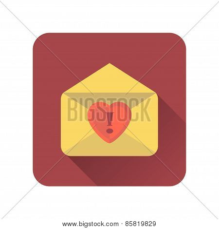 Love Letter Flat Icon With Long Shadow