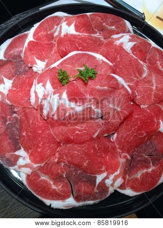 Closed Up Sliced Beef , Shabu Set