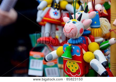 Bright Color Wooden Cow
