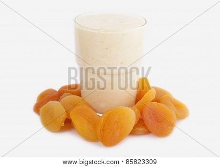 Smoothies Of Dried Apricots With Yogurt In A Glass Cup   On A White Background