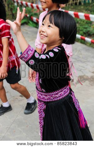 Thailand Hill Tribe Girl With Traditional Costume