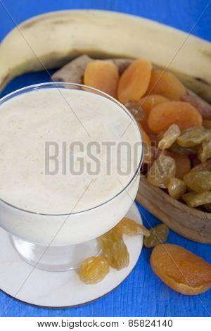 Smoothies From Dried Fruits Of Apricot, Raisins And Banana With Yogurt.