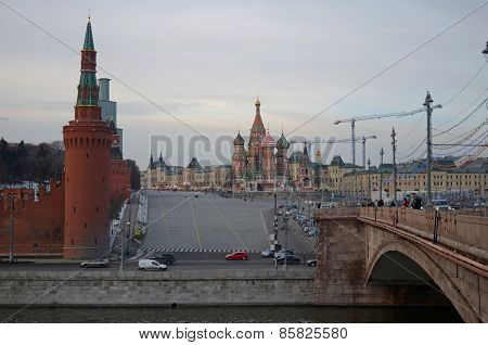 Moscow, Russia-Feb,24 2015:Evening view of the Red Square from the Big Moscow River bridge