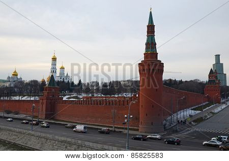 The walls of the Moscow Kremlin at twilight