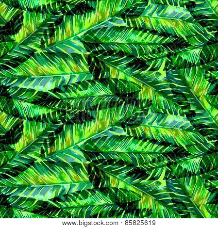 Seamless Watercolor Palm Leaf Pattern.