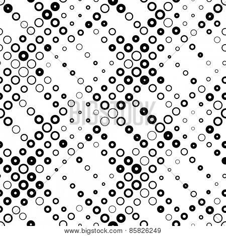 Seamless Circle Pattern. Vector Black and White Background
