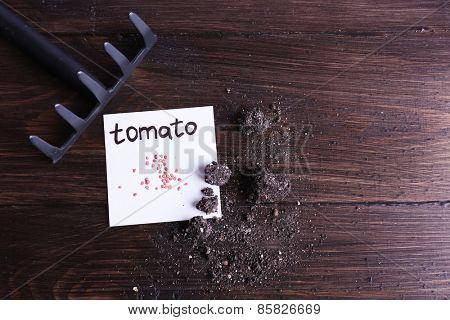 Tomato seeds on piece of paper with ground and rake on wooden background