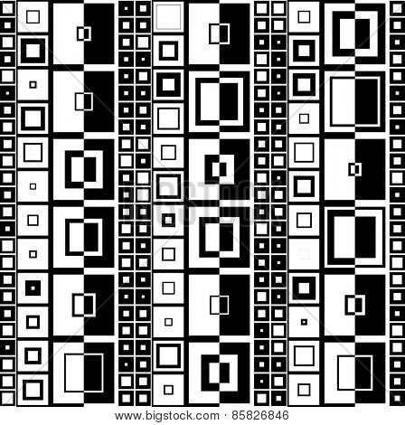 Seamless Square and Stripe Pattern. Abstract Monochrome Background. Vector Regular Texture