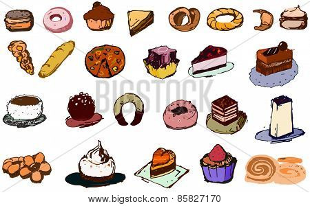 Bunch of cookies and cakes, all different kind, vector illustration in color