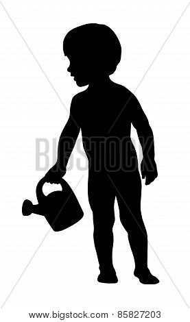 Little Kid Holding A Watering Can