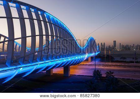 Meydan Bridge In Dubai At Night