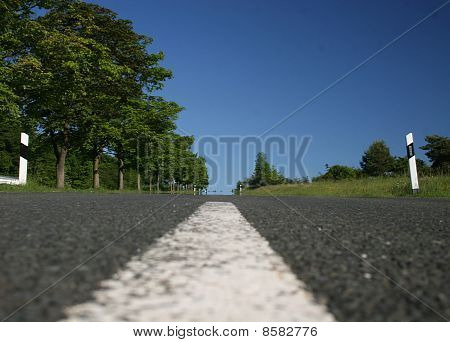Center line of a country road