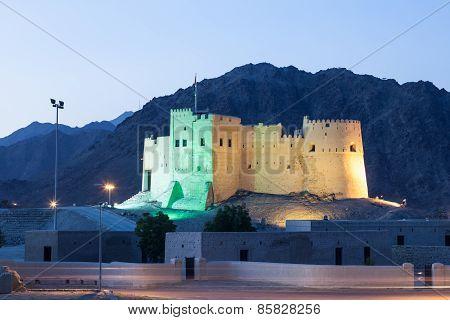 Historic Fort Of Fujairah At Nigh