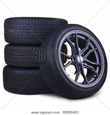Four Racing Tires Isolated