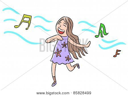 cartoon woman isolate sing song dance