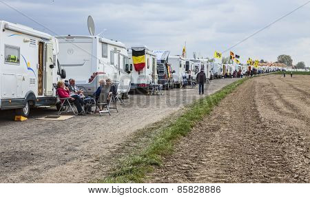 Row Of Caravans At Paris Roubaix Cycling Race