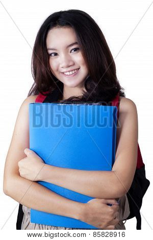Gorgeous Teenage Girl With Bag And Folder
