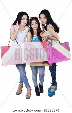 Group Of Happy Teenage Girls After Shopping