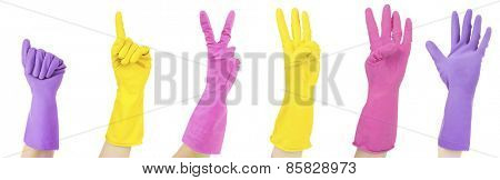 Color gloves gesturing numbers isolated on white