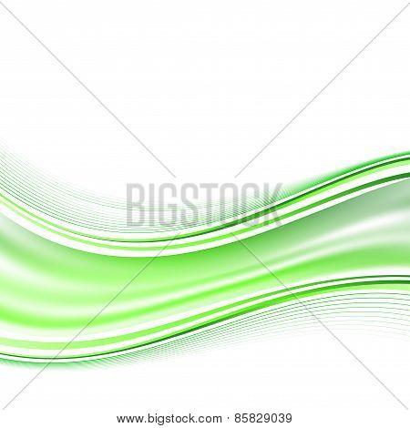 Modern Smooth Green Airy Fresh Swoosh Wave Background