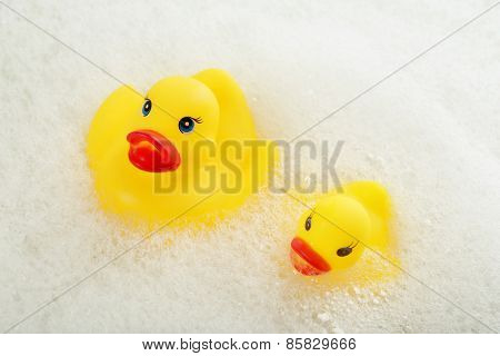 Rubber ducks in foam close-up