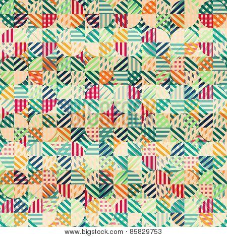 Retro Fabric Circles Seamless Pattern