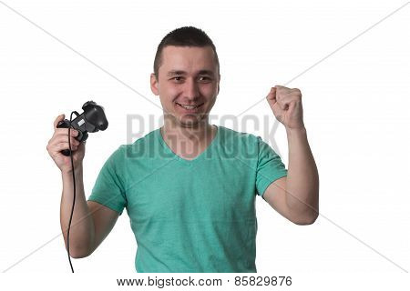 Concentrated Man Playing Video Games On A White Background