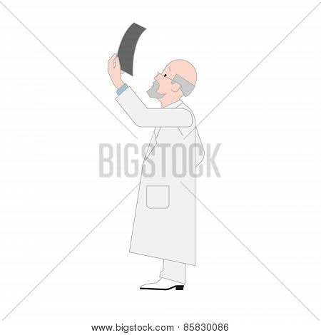Doctor Orthopedist Looking a X-ray Image Isolated on White Background.