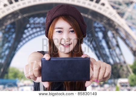 Modern Brunette Girl Takes A Photo