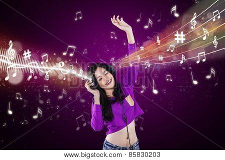 Modern Girl Listening Music